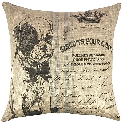 TheWatsonShop Dog Grainsack Burlap Throw Pillow