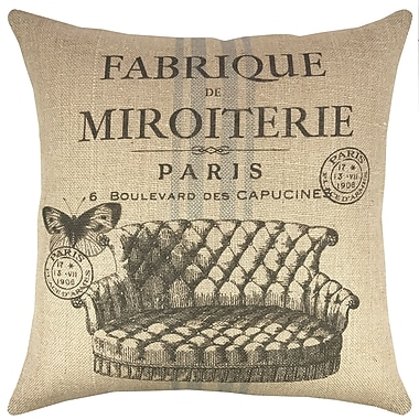 TheWatsonShop Paris Burlap Throw Pillow
