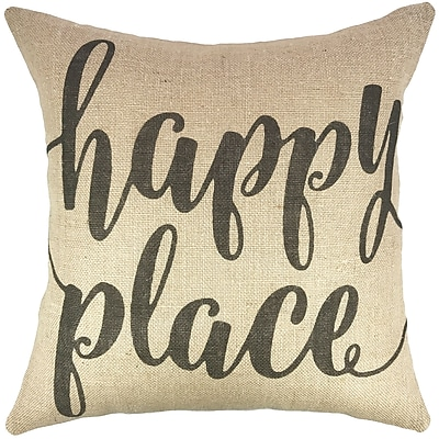 TheWatsonShop Happy Place Burlap Throw Pillow