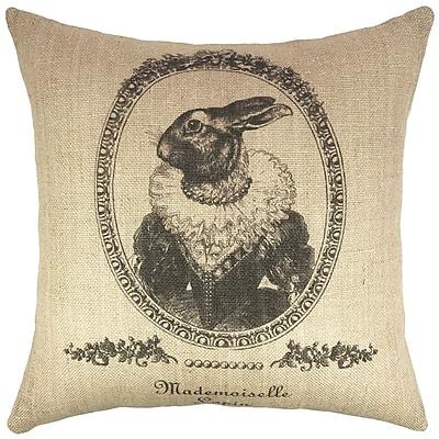 TheWatsonShop Vintage Bunny Burlap Throw Pillow