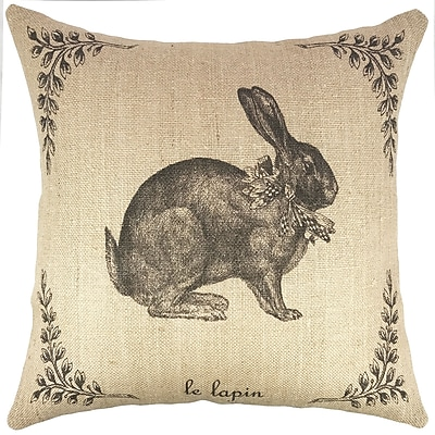 TheWatsonShop French Hare Burlap Throw Pillow
