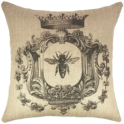 TheWatsonShop French Bee Burlap Throw Pillow