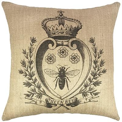 TheWatsonShop Bee w/ Crown Burlap Throw Pillow