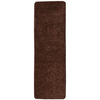 Ottomanson Soft Solid Non Slip Shag Carpet Brown Stair Tread; Set of 7