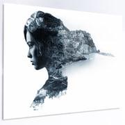 DesignArt 'Woman Portrait Double Exposure' Graphic Art on Metal; 12'' H x 28'' W x 1'' D