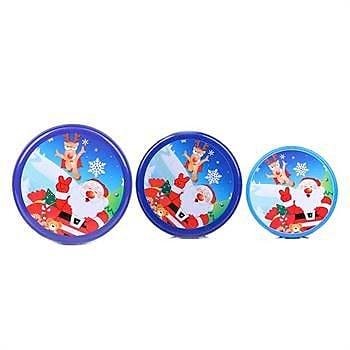 DaHo Christmas Santa Nested Gift 3 Piece Storage Jars Set