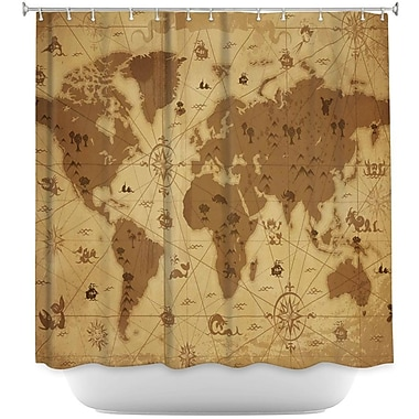DiaNocheDesigns Whimsical World Map Shower Curtain; Beige