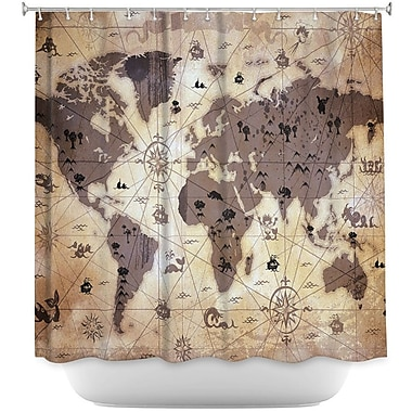 DiaNocheDesigns Whimsical World Map Shower Curtain; Brown