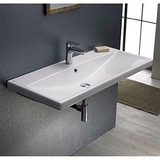 CeraStyle by Nameeks Elite Ceramic Rectangular Drop-In Bathroom Sink w/ Overflow; 3 Hole
