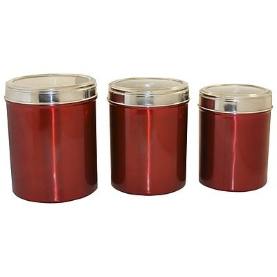 Columbian Home Products Hueck Stainless Steel 3 Piece Kitchen Canister Set