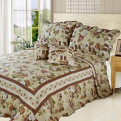 DaDa Bedding Dusty Rose Garden Cottage Reversible Bed in a Bag; Twin
