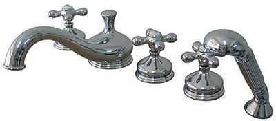 Elements of Design Heritage Double Handle Deck Mount Roman Tub Faucet; Chrome