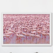 Marmont Hill 'Flamingo Party' Framed Painting Print; 48'' H x 72'' W x 1.5'' D