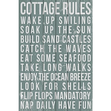 Marmont Hill 'Cottage Rules' Painting Print on White Wood; 18'' H x 12'' W x 1.5'' D