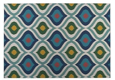 Kavka Ikat Ogee Indoor/Outdoor Doormat; Blue/ Pink/ Yellow/ Green