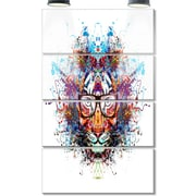 DesignArt 'Colorful Tiger in Glasses' 4 Piece Graphic Art on Canvas Set