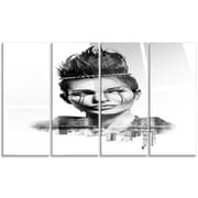 DesignArt 'Double Exposure Woman w/ Hair' 4 Piece Graphic Art on Canvas Set
