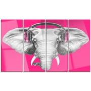DesignArt 'Elephant w/ Headphones' 4 Piece Graphic Art on Canvas Set