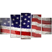 DesignArt 'Large American Flag Watercolor' 5 Piece Graphic Art on Canvas Set