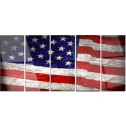 DesignArt 'Large American Flag Watercolor' 5 Piece Photographic Print on Canvas Set