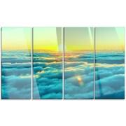 DesignArt 'Beautiful Sunset Over Blue Clouds' 4 Piece Photographic Print on Canvas Set