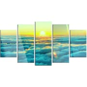 DesignArt 'Beautiful Sunset Over Blue Clouds' 5 Piece Photographic Print on Canvas Set