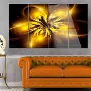 DesignArt 'Shiny Gold Fractal Flower on Black' 4 Piece Graphic Art on Canvas Set
