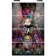 DesignArt 'Colorful Human Skull w/ Glasses' 4 Piece Graphic Art on Canvas Set