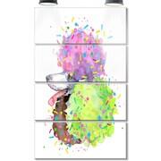 DesignArt 'Cute Brown Dog w/ Color Spheres' 4 Piece Graphic Art on Canvas Set