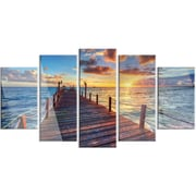 DesignArt 'Beautiful Sunset Over Sea Pier' 5 Piece Photographic Print on Canvas Set