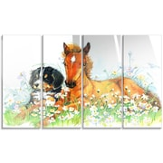 DesignArt 'Relaxing Brown Cute Horse' 4 Piece Painting Print on Canvas Set