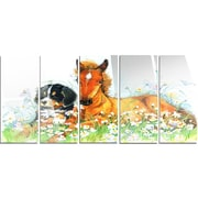 DesignArt 'Relaxing Brown Cute Horse' 5 Piece Painting Print on Canvas Set