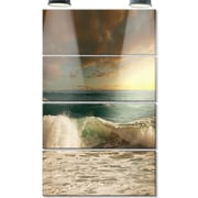 DesignArt 'Rushing Waves Under Heavy Clouds' 4 Piece Photographic Print on Canvas Set
