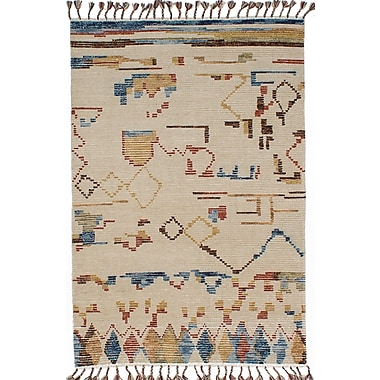 ECARPETGALLERY Tangier Hand-Knotted Beige/Blue Area Rug