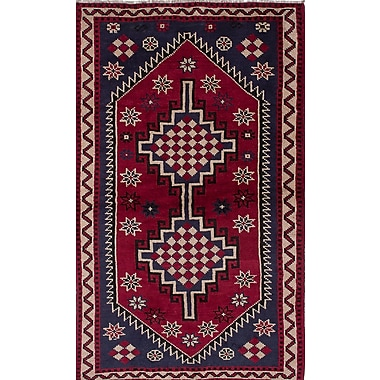 World Menagerie Witt Hand-Knotted Red/Blue Area Rug