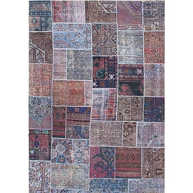 ECARPETGALLERY Persian Vogue Patch Hand-Knotted Blue/Brown Area Rug