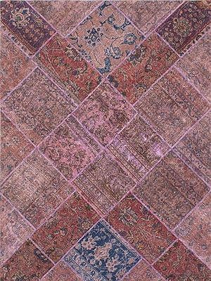 ECARPETGALLERY One-of-a-Kind Persian Vogue Patch Hand-Knotted Beige/Pink Area Rug