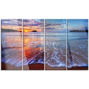 DesignArt 'Placid Shore and Whimsical Clouds' 4 Piece Photographic Print on Canvas Set
