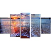 DesignArt 'Placid Shore and Whimsical Clouds' 5 Piece Photographic Print on Canvas Set