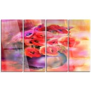 DesignArt 'Bouquet of Cute Poppies in Vase' 4 Piece Painting Print on Canvas Set