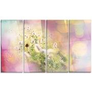 DesignArt 'Cute Little Summer Flowers' 4 Piece Graphic Art on Canvas Set