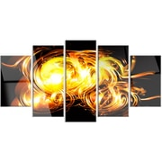 DesignArt 'Abstract Fractal Fire on Black' 5 Piece Graphic Art on Canvas Set