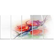 DesignArt 'Soft Floral Watercolor on Splashes' 5 Piece Graphic Art on Canvas Set