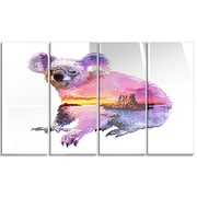 DesignArt 'Koala Double Exposure Illustration' 4 Piece Graphic Art on Canvas Set