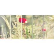 DesignArt 'Meadow w/ Wild Poppy Flowers' 5 Piece Photographic Print on Canvas Set