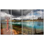 DesignArt 'Azure Mountain Lake w/ Clouds' 4 Piece Photographic Print on Canvas Set