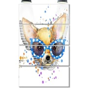 DesignArt 'Cute Puppy w/ Blue Glasses' 4 Piece Painting Print on Canvas Set