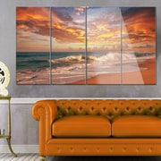 DesignArt 'Waves Under Colorful Clouds' 4 Piece Photographic Print on Canvas Set