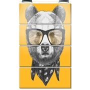 DesignArt 'Funny Bear w/ Formal Glasses' 4 Piece Graphic Art on Canvas Set