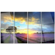 DesignArt 'Colorful Sky Over Vibrant Lavender Field' 4 Piece Photographic Print on Canvas Set